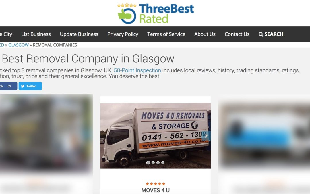 Removals Glasgow Wins 3 Best Rated In Glasgow!